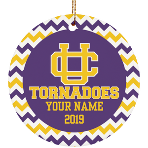 Union City Tornadoes Personalized Chevron Ornament