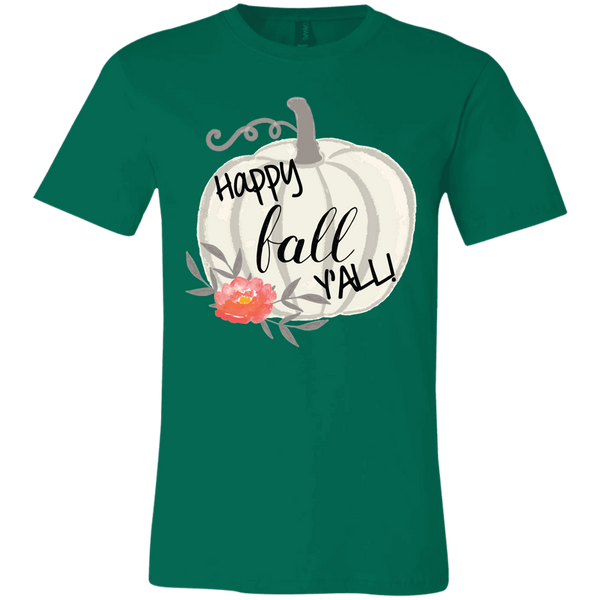 Happy Fall Y'all Watercolor Pumpkin Soft Tee Shirt Green