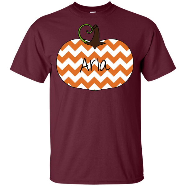 Kids Personalized Chevron Pumpkin Tee Shirt Maroon