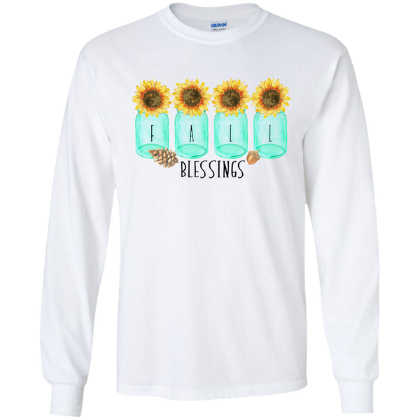 Mason Jar Sunflowers Fall Blessings Long Sleeve Tee Shirt White