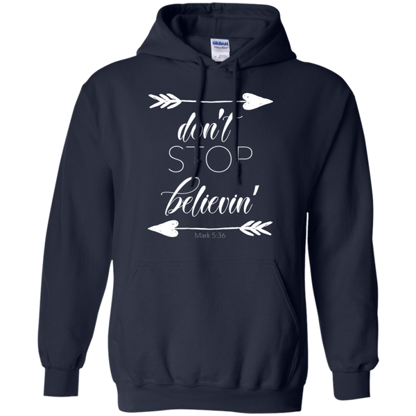 Don't stop believin' Mark 5:36 arrows flowy hoodie sweatshirt navy