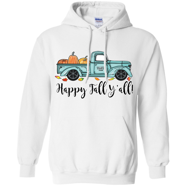 Happy Fall Y'all Pumpkin Farm Truck Hoodie Sweatshirt White