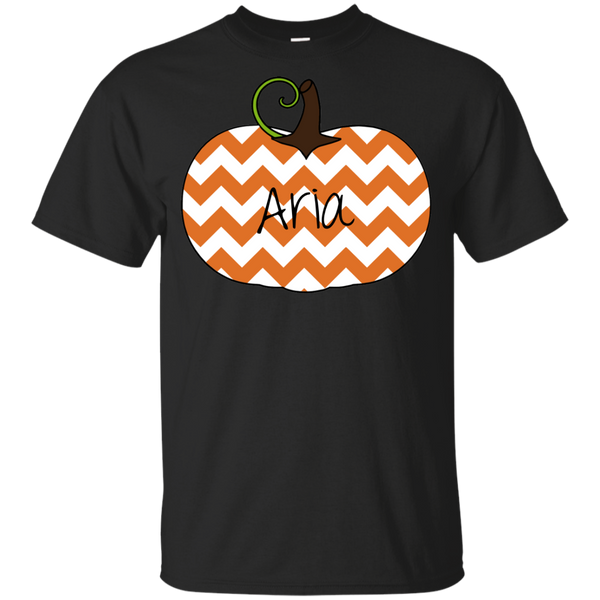 Kids Personalized Chevron Pumpkin Tee Shirt Black