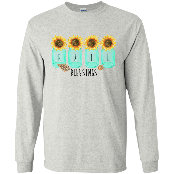 Mason Jar Sunflowers Fall Blessings Long Sleeve Tee Shirt Ash Grey