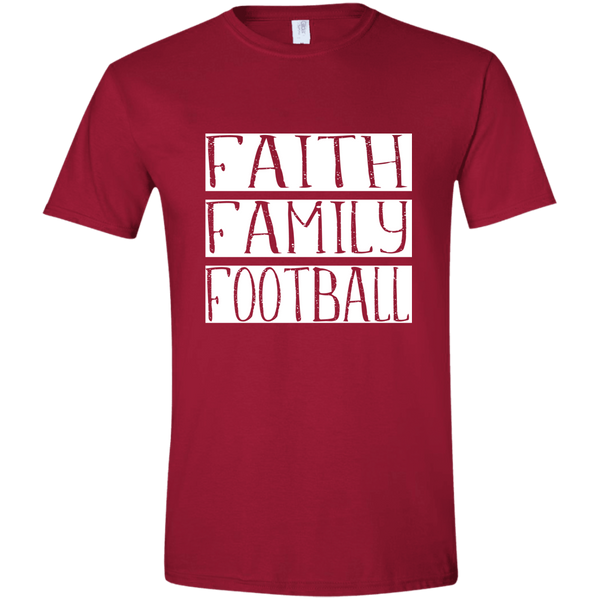Faith Family Football Soft Tee Shirt Cardinal Red