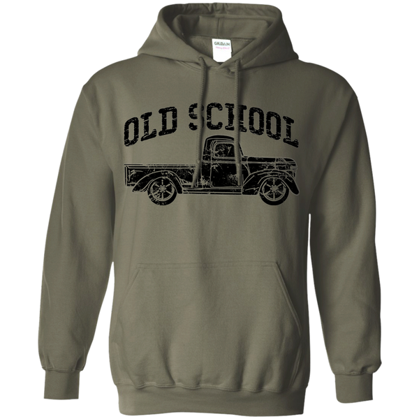 Old School Vintage Distressed Antique Truck Hoodie Military Green