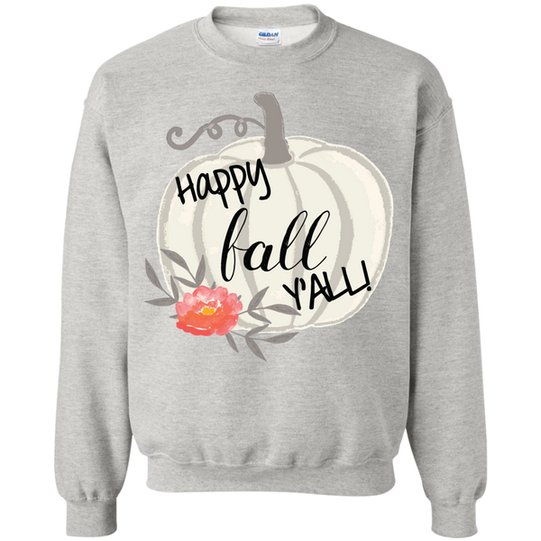 Happy Fall Y'all Watercolor Pumpkin Crewneck Sweatshirt Ash Grey
