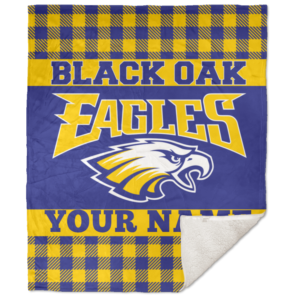 Black Oak Eagles 50x60 Premium Buffalo Plaid School Spirit Blanket