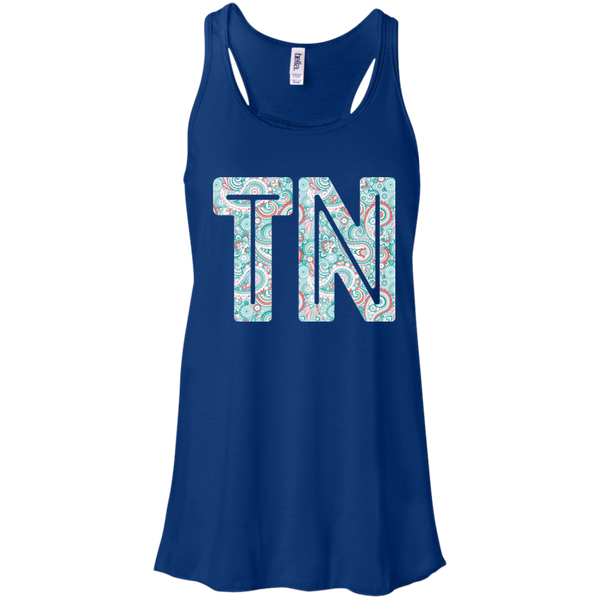 Paisley Tennessee Flowy Racerback Tank Top Blue