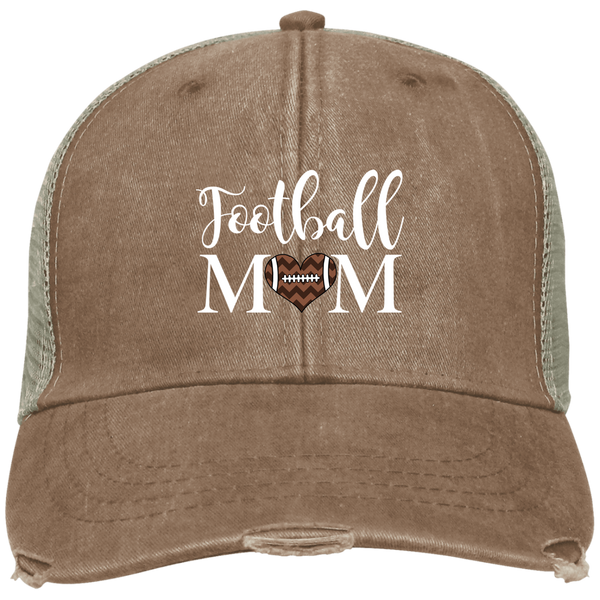Football Mom Distressed Trucker Hat Cap Heart Brown