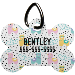 Personalized Llama Print Bone Shaped Pet Tag