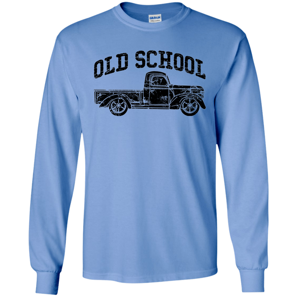 Old School Vintage Distressed Antique Truck Long Sleeve Tee Carolina Blue