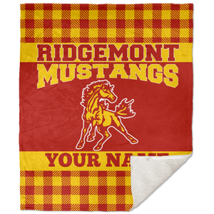 Ridgemont Mustangs 50x60 Premium Buffalo Plaid School Spirit Blanket