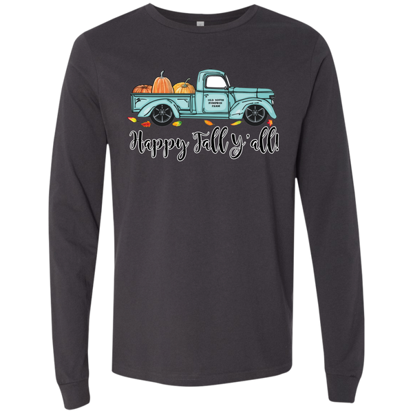 Happy Fall Y'all Pumpkin Farm Truck Long Sleeve Tee Shirt Dark Grey