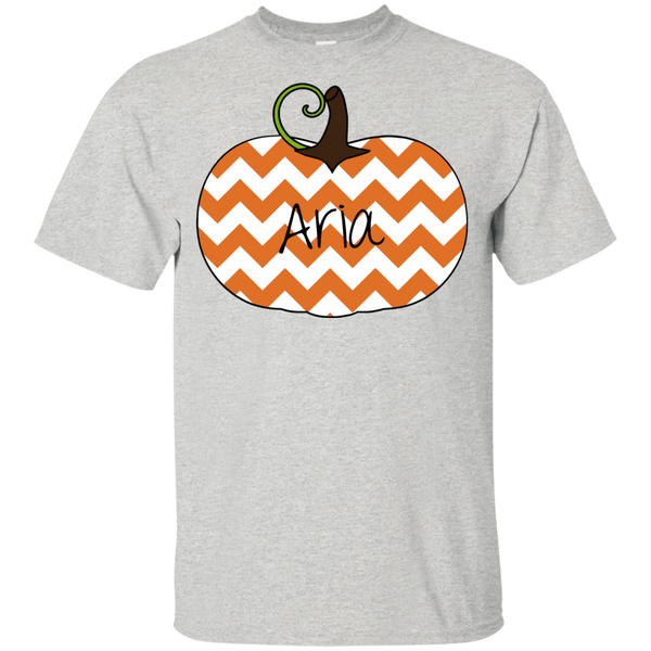 Kids Personalized Chevron Pumpkin Tee Shirt Ash Grey