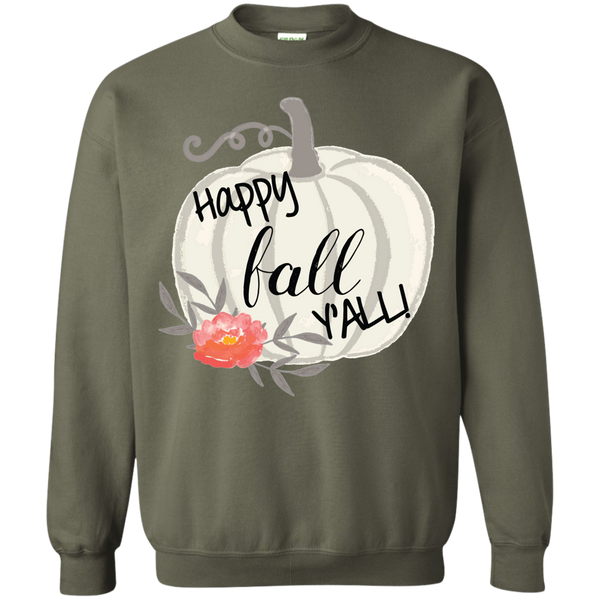 Happy Fall Y'all Watercolor Pumpkin Crewneck Sweatshirt Military Green