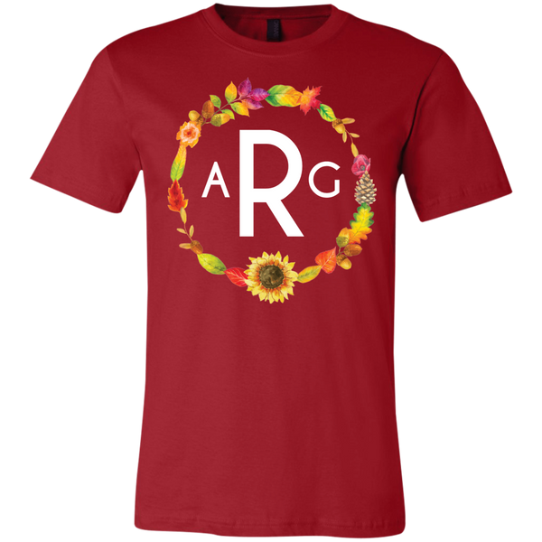 Personalized Fall Wreath Monogram Tee Shirt  Red