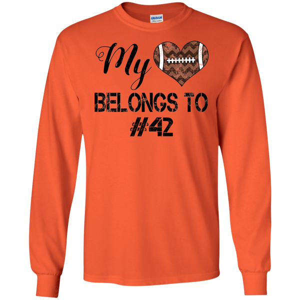 My Heart Belongs To Personalized Football Long Sleeve Tee Orange