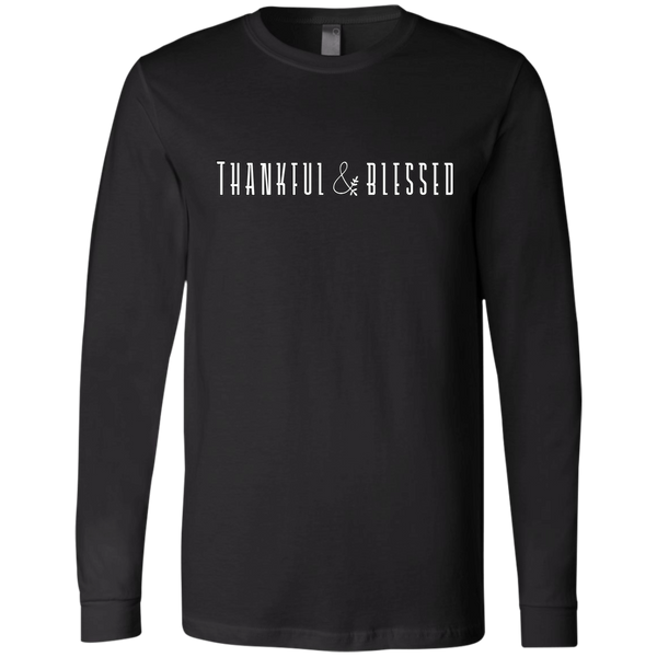 Thankful and Blessed Soft Long Sleeved Tee Black