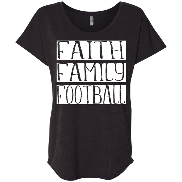 Faith Family Football Flowy Dolman sleeve tee black
