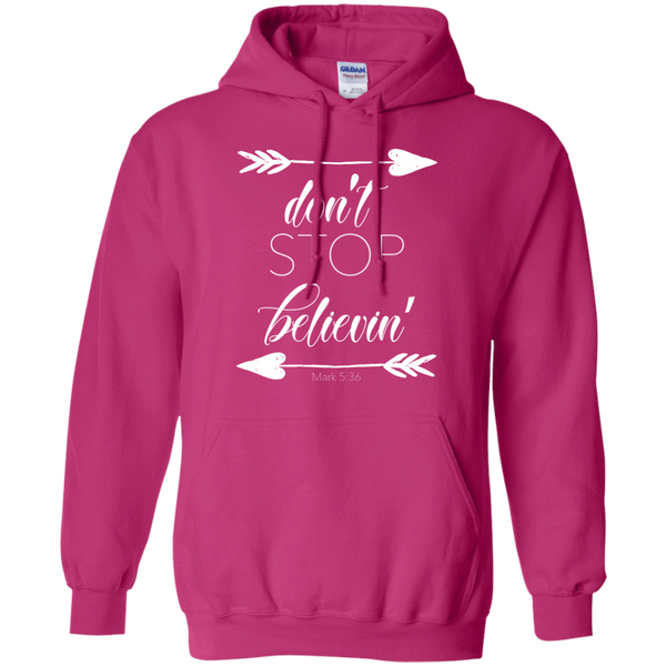 Don't stop believin' Mark 5:36 arrows flowy hoodie sweatshirt pink