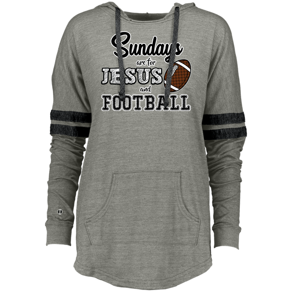 Sundays are for Jesus and Football Long Sleeve Raglan Hoodie Grey