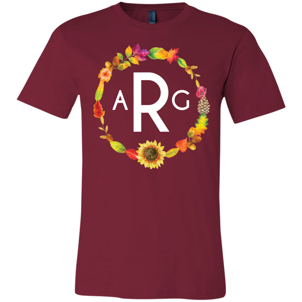 Personalized Fall Wreath Monogram Tee Shirt Cardinal Red