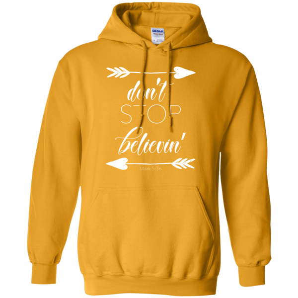 Don't stop believin' Mark 5:36 arrows flowy hoodie sweatshirt gold