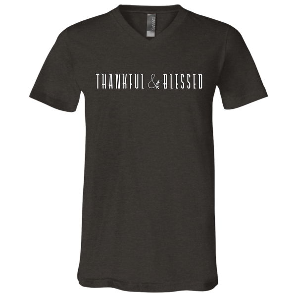 Thankful and Blessed Soft V-Neck Tee Shirt Dark Grey