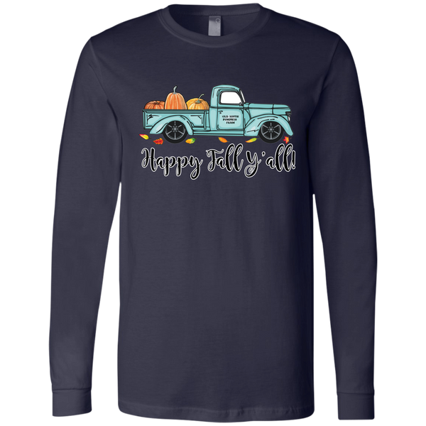 Happy Fall Y'all Pumpkin Farm Truck Long Sleeve Tee Shirt Navy