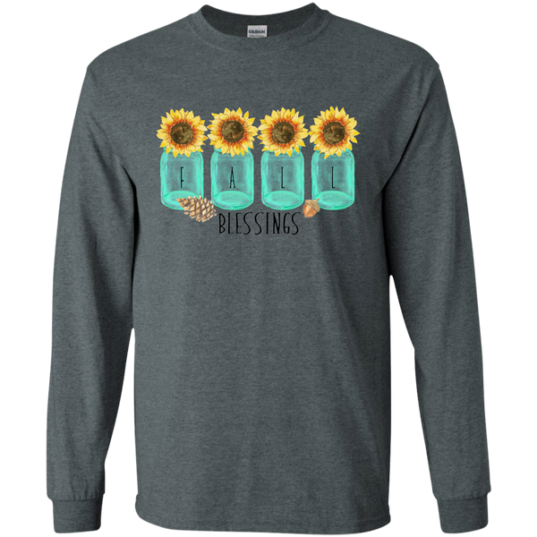 Mason Jar Sunflowers Fall Blessings Long Sleeve Tee Shirt Dark Grey