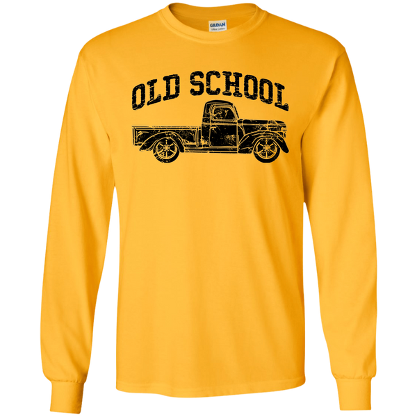 Old School Vintage Distressed Antique Truck Long Sleeve Tee Gold
