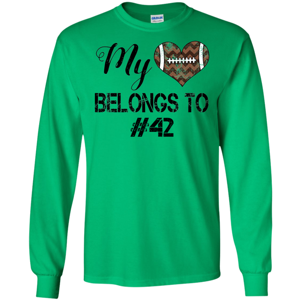 My Heart Belongs To Personalized Football Long Sleeve Tee Green