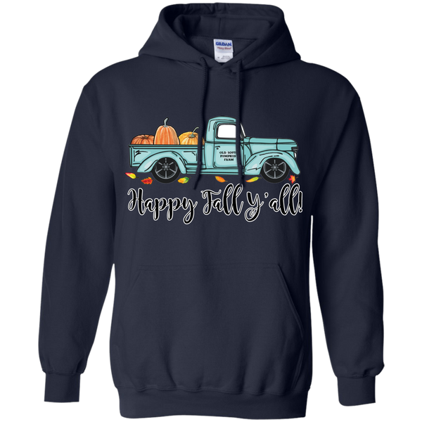 Happy Fall Y'all Pumpkin Farm Truck Hoodie Sweatshirt Navy