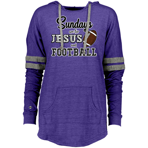 Sundays are for Jesus and Football Long Sleeve Raglan Hoodie Purple