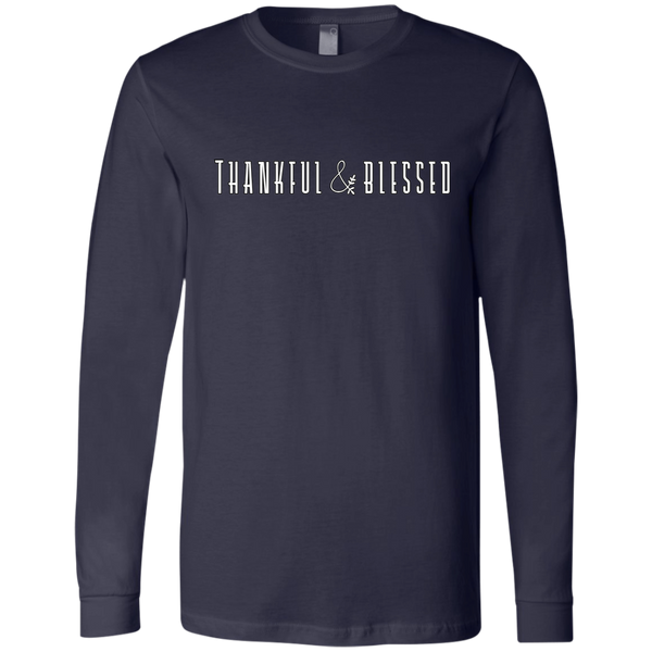 Thankful and Blessed Soft Long Sleeved Tee Navy
