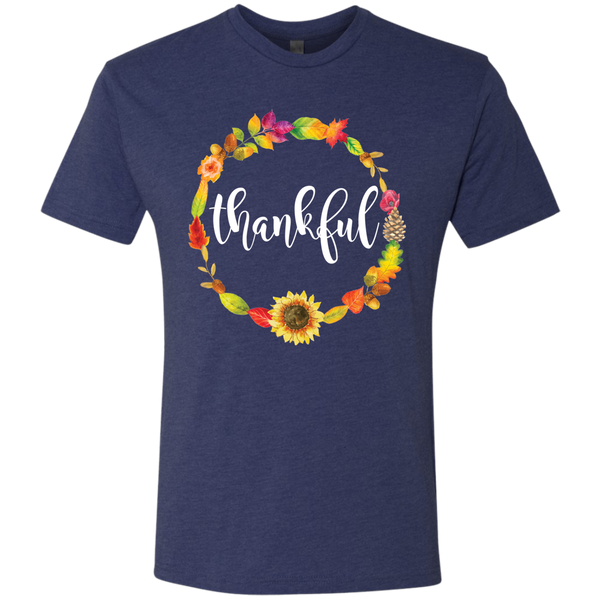 Thankful Floral Wreath Soft Tee Shirt Navy