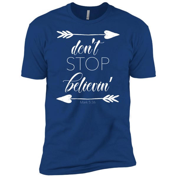 Don't stop believin' Mark 5:36 arrows tee shirt royal blue