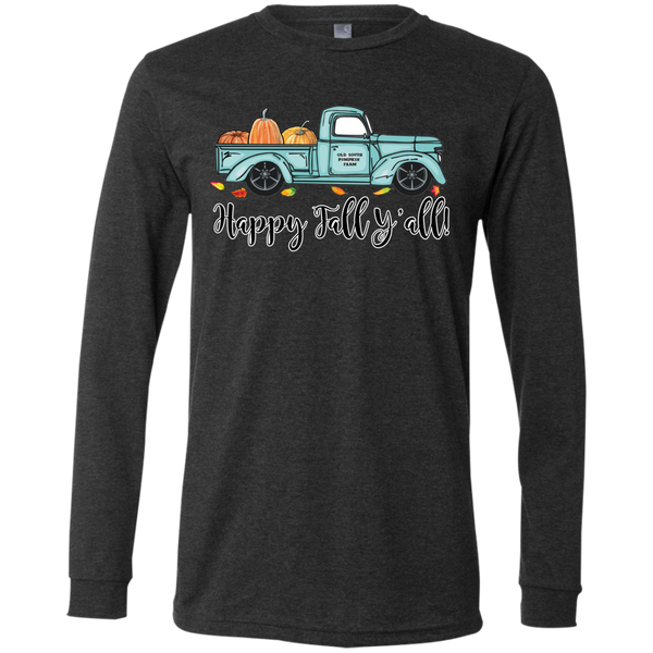 Happy Fall Y'all Pumpkin Farm Truck Long Sleeve Tee Shirt Heather Grey