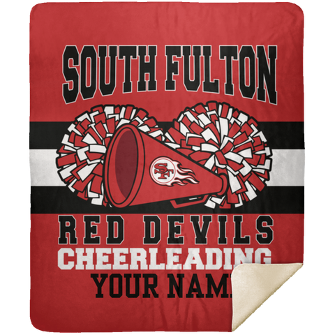 South Fulton Red Devils Cheerleading Premium Mink Sherpa 50x60 School Spirit Blanket
