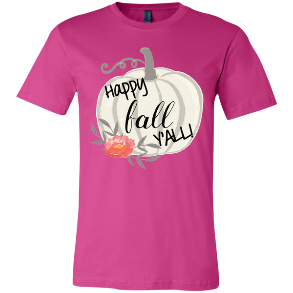Happy Fall Y'all Watercolor Pumpkin Soft Tee Shirt Pink