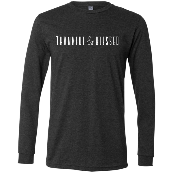 Thankful and Blessed Soft Long Sleeved Tee Dark Grey Heather