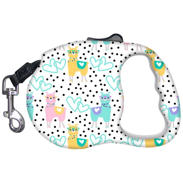 Llama Print Retractable Dog Leash