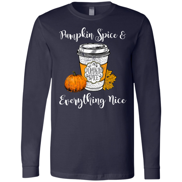 Pumpkin Spice and Everything Nice Soft Long Sleeve Tee Navy
