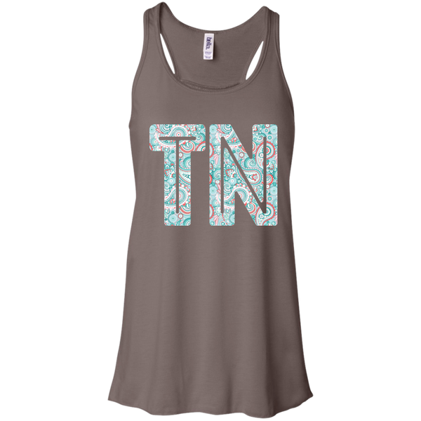 Paisley Tennessee Flowy Racerback Tank Top Brown