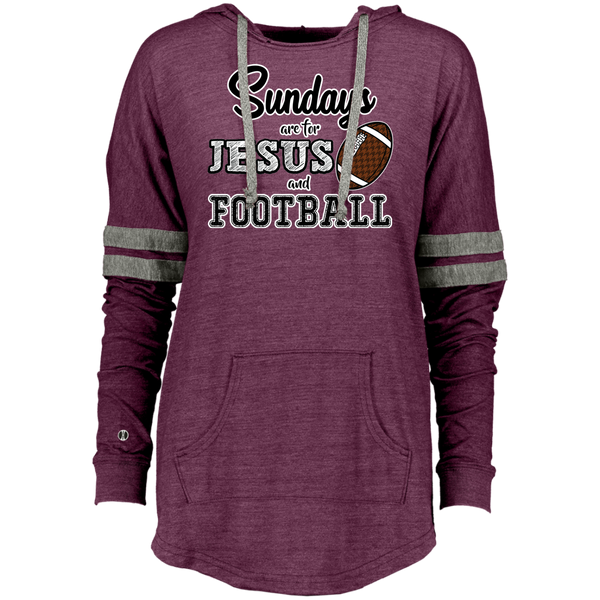 Sundays are for Jesus and Football Long Sleeve Raglan Hoodie Vintage Maroon