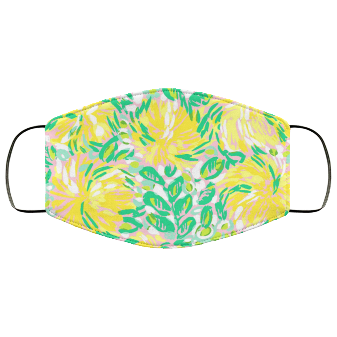 Lilly Pulitzer Inspired Yellow Floral Face Mask