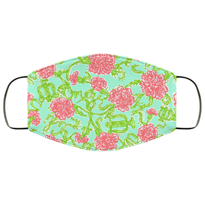Lilly Pulitzer Inspired Red Floral Face Mask