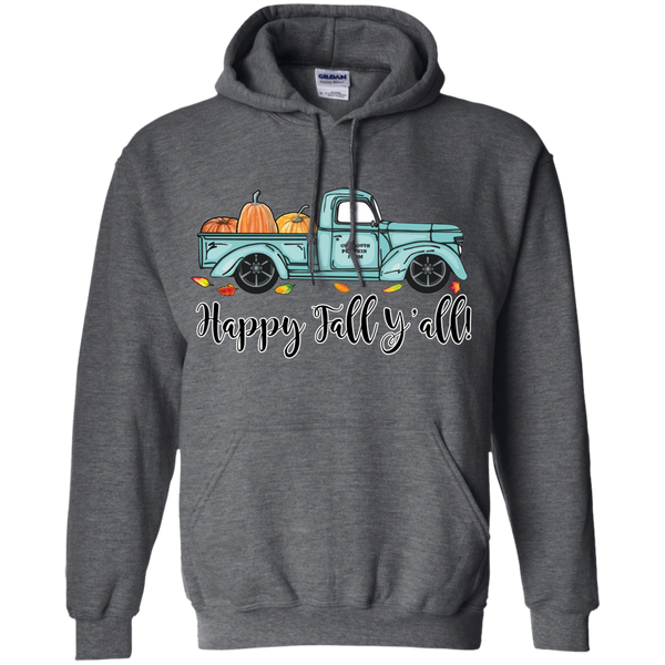 Happy Fall Y'all Pumpkin Farm Truck Hoodie Sweatshirt Dark Grey