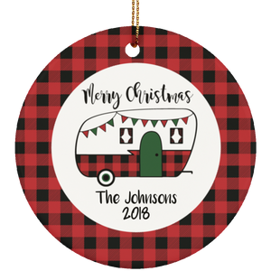Personalized Merry Christmas RV Ceramic Ornament